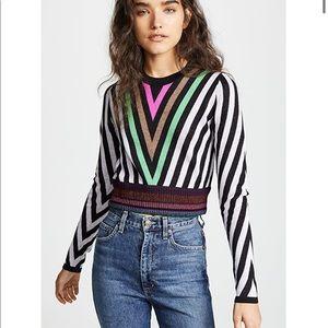 Diane von Furstenberg Chevron Crop Sweater XS NWOT